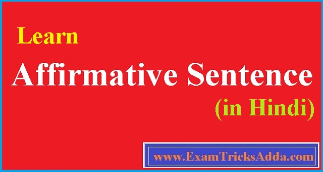learn Affirmative Sentence in Hindi