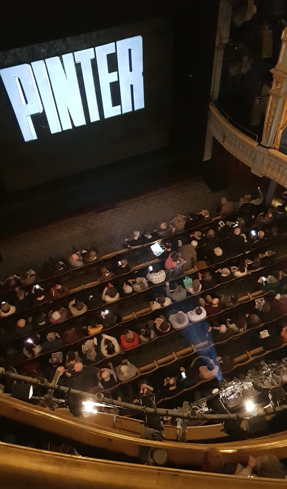 Looking down from the balcony in the Harold Pinter Theatre, London