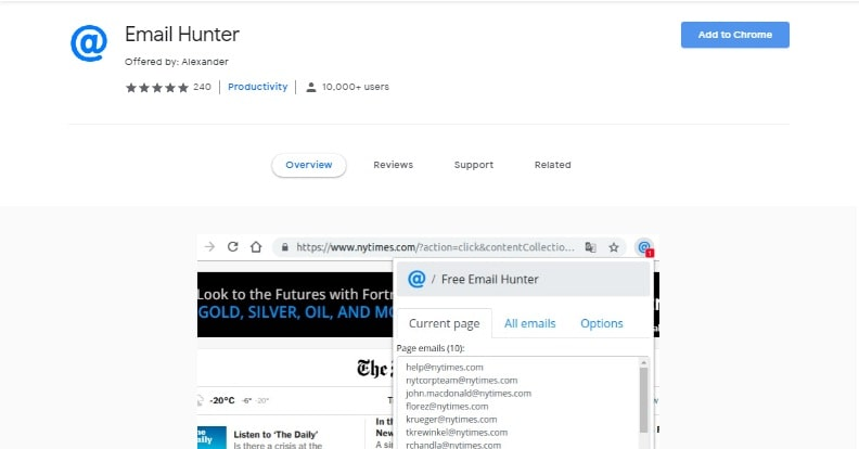 Email Hunter Chrome-Extension