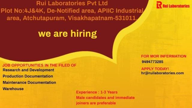 RUI Laboratories | Urgent openings in Production Documentation/Warehouse/R&D/Maintenance documentation | Send CV