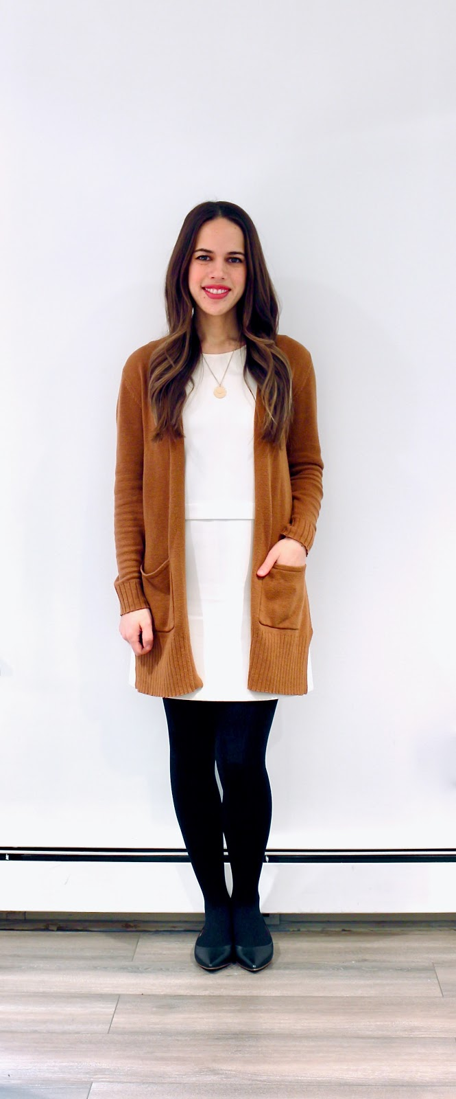 Jules in Flats - White Shift Dress with Cognac Cardigan (Business Casual Winter Workwear on a Budget)
