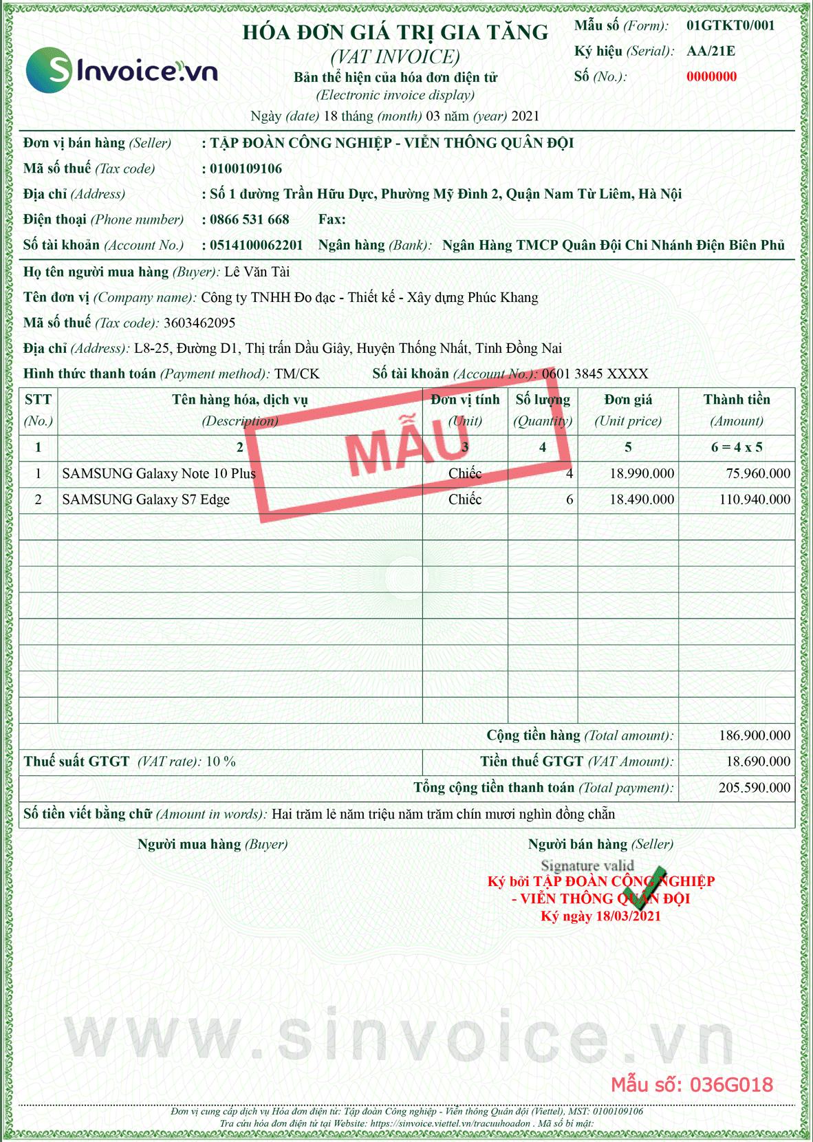 Mẫu hóa đơn điện tử số 036G018