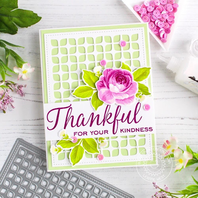 Sunny Studio Stamps: Frilly Frames Dies Elegant Leaves Everything's Rosy Thank You Card by Leanne West