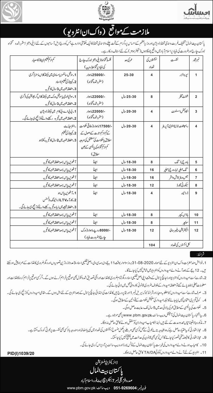 Pakistan Bait ul Mal Jobs 2020 for Supervisors | 104 Jobs