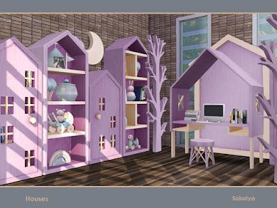 Houses дома для The Sims 4 Набор мебели для ваших детских комнат. Включает 10 объектов, имеет 4 цветовые палитры. Предметы в наборе: -три книжных шкафа, -склад, -комод, -стол, -кресло, -две настенные скульптуры, -деревянная скульптура на полу. Автор: soloriya