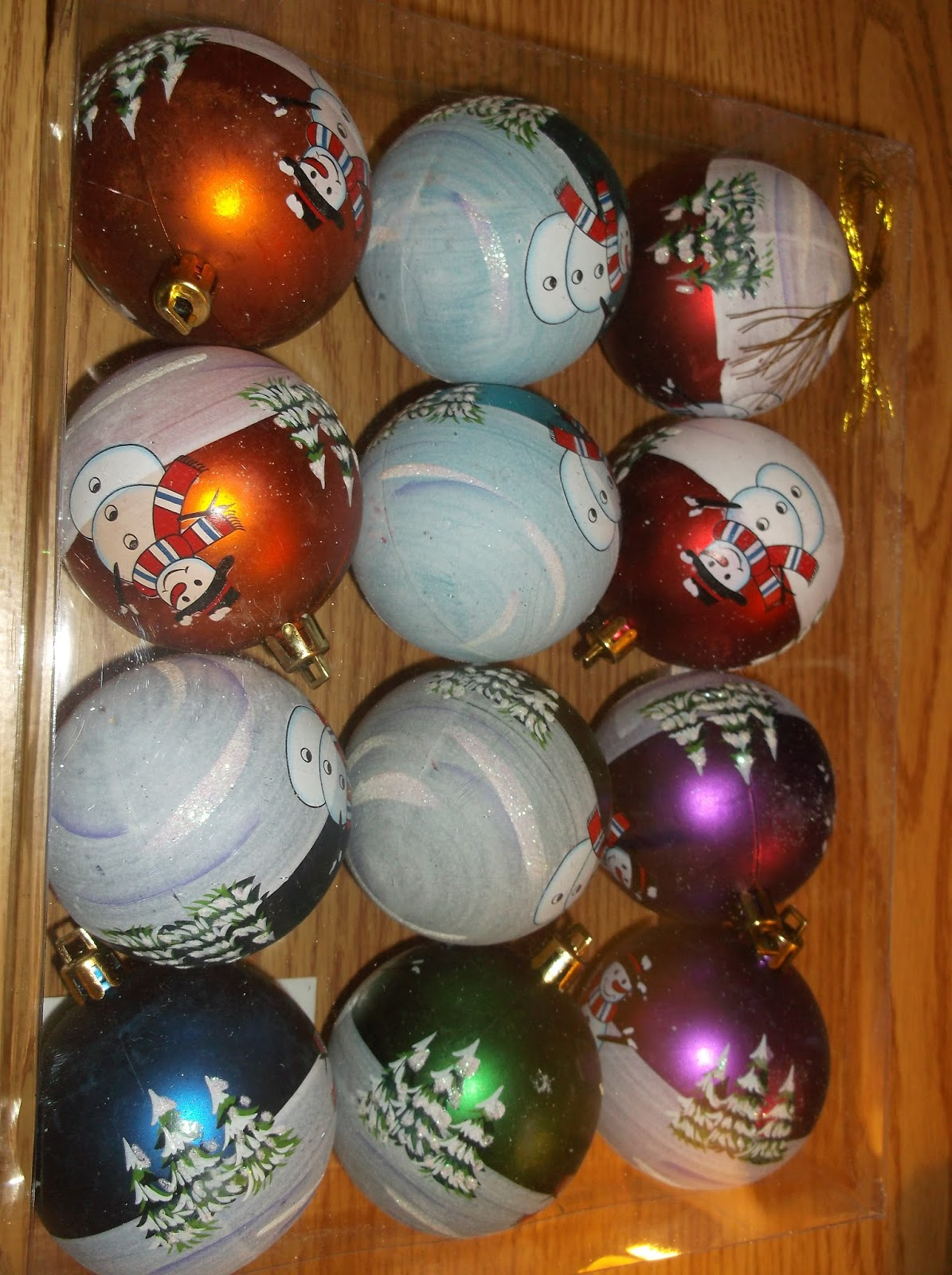 f7fa4c4b41b 12 Pack Assorted Color Ball Ornaments with Snowman Design- These  traditional 2 inch assorted color ball ornaments are a classic for any home  or business.