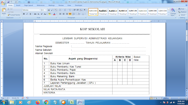 Lembar Supervisi Administrasi Keuangan Sekolah