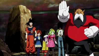 Goku dengan Toppo bersama Universe 2 protes ke Android 17