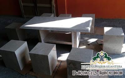 Kursi Meja Batu Alam, Harga Meja Bahan Marmer, Kursi Marmer Tulungagung