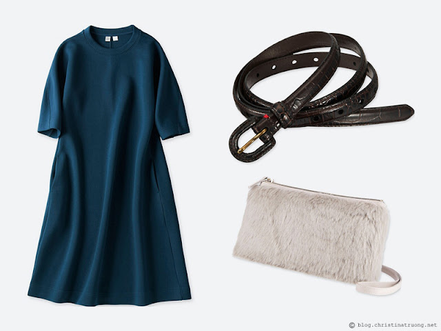 Dressing for the Holidays in the spirit of the New Year featuring UNIQLO Uniqlo Women Wool Blend Sweat 3-4 Sleeve Dress 69 Navy, Uniqlo Women Faux Shearling Shoulder Bag 03 Gray, Uniqlo Women Faux Croc Skinny Belt 09 Black