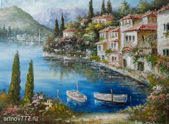 Картина на холсте с лодками и кипарисами