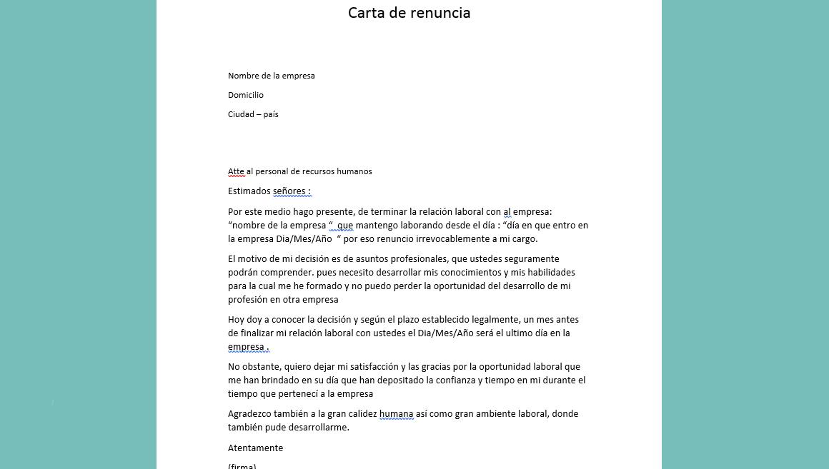 Modelo de carta de renuncia | Ejemplo ~ Curriculum vitae | plantillas