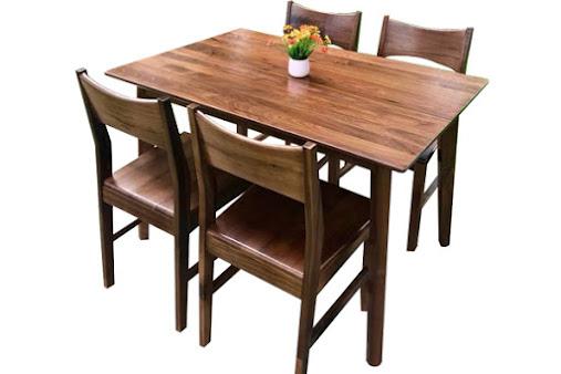 Bàn ghế ăn gỗ óc chó 4 ghê