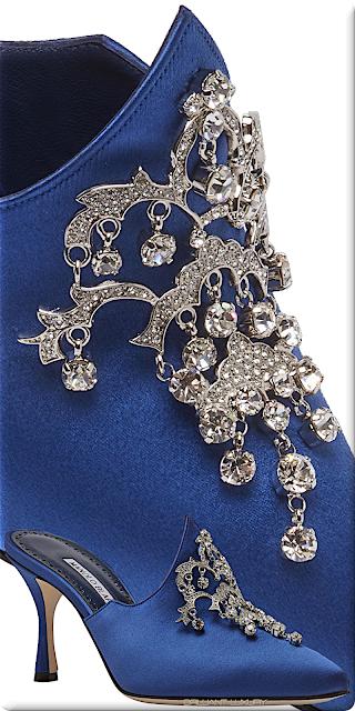 ♦Manolo Blahnik Valenta bright blue bejeweled satin mules #manoloblahnik #shoes #blue #brilliantluxury