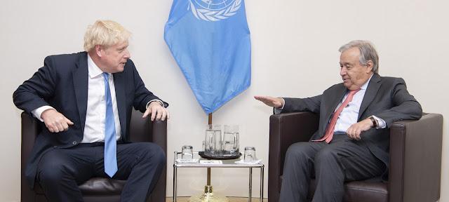 El Secretario General, António Guterres, y el primer ministro Boris Johnson (Foto de archivo)ONU/Eskinder Debebe