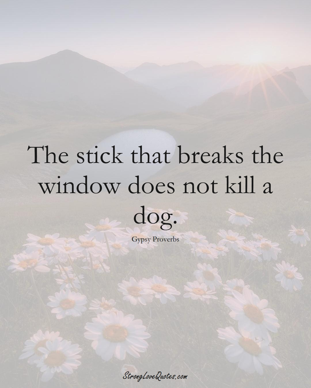 The stick that breaks the window does not kill a dog. (Gypsy Sayings);  #aVarietyofCulturesSayings
