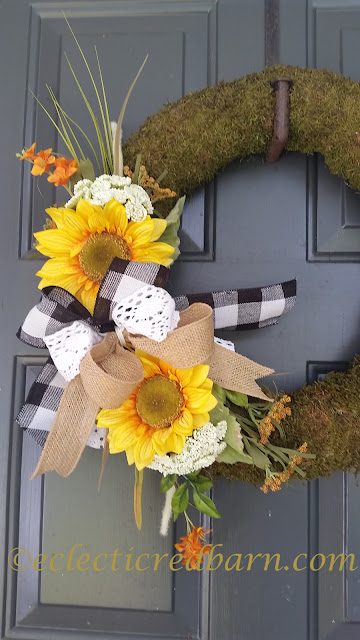 Fall Sunflower Wreaths. Share Now. #wreaths #sunflowers #fallwreaths #eclecticredbarn