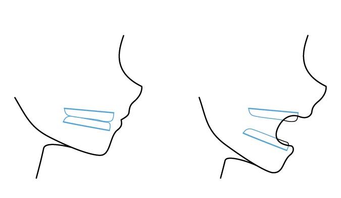 Sisi mulut anime melihat rahang dan gigi