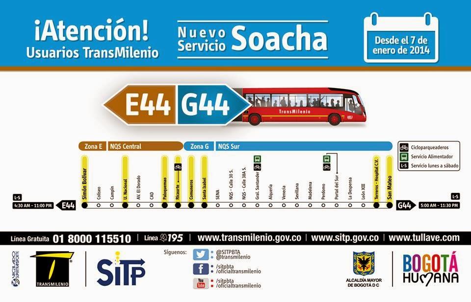 Todo Sobre Sitp Nuevo Servicio Troncal Soacha E44 G44