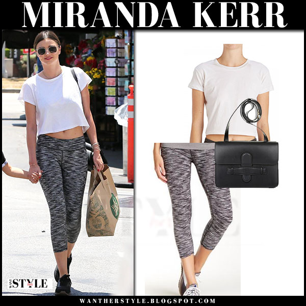 Miranda Kerr in white crop top and grey capri leggings fabletics what she wore workout style