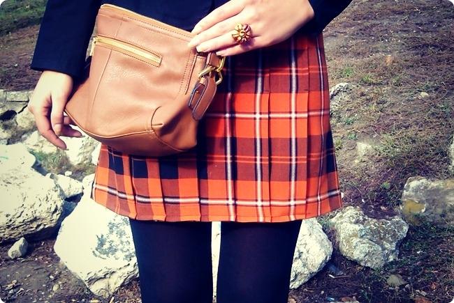 narandzasta karirana mini suknja
