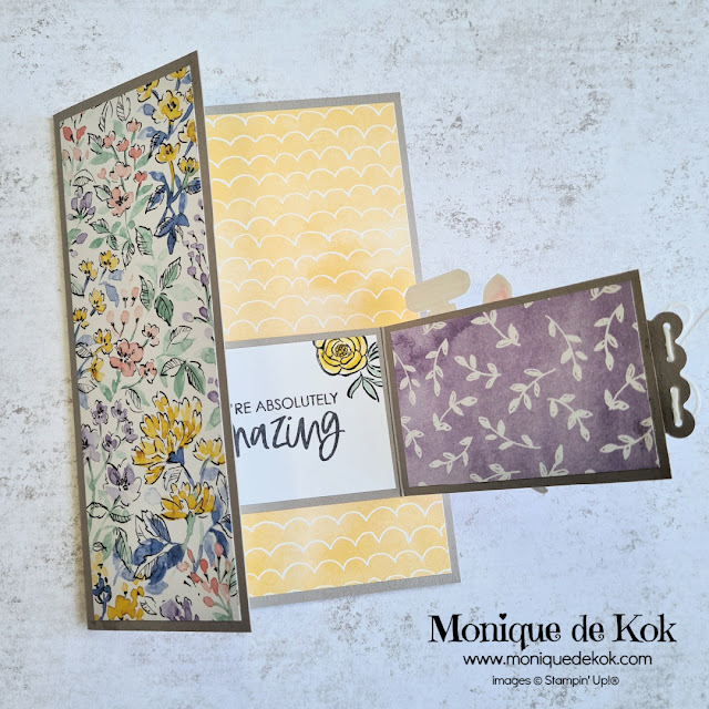 zelfgemaakte kaart, producten Stampin' Up!, Hand Penned design papier, Dressed to Impress stempelset, Funfold kaart