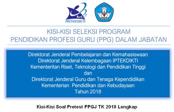 Kisi-Kisi Soal Pretest PPGJ TK 2018 Lengkap