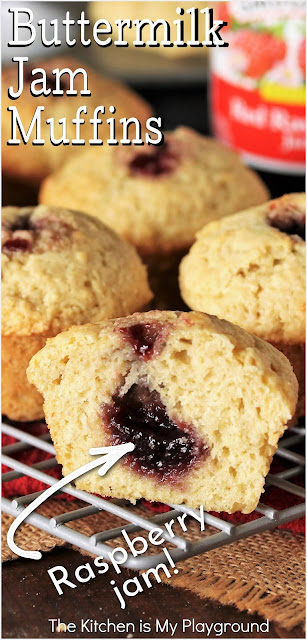 Buttermilk Jam Muffins ~ Soft, tender, simple little muffins with a raspberry jam center tucked inside. They're a wonderfully delicious little treat that's just perfect for breakfast, brunch, or afternoon snacking.  www.thekitchenismyplayground.com