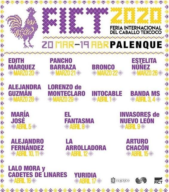 Cartelera de Conciertos en el Palenque de la Feria de Texcoco 2020