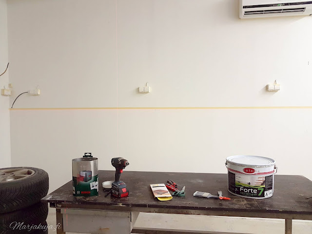 autotalli remontti maalaus sisäpinnat uusiksi muutos remontointi