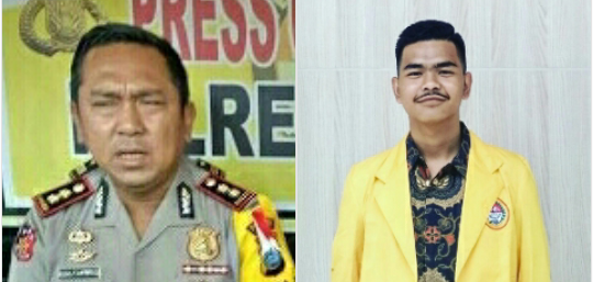 Kapolres Asahan AKBP Faisal Napitupulu dan Presiden BEM UNA M Nur Hidayat.