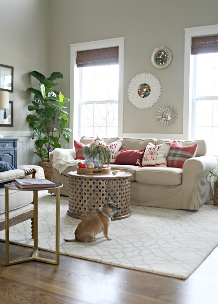 slipcovered neutral sofa