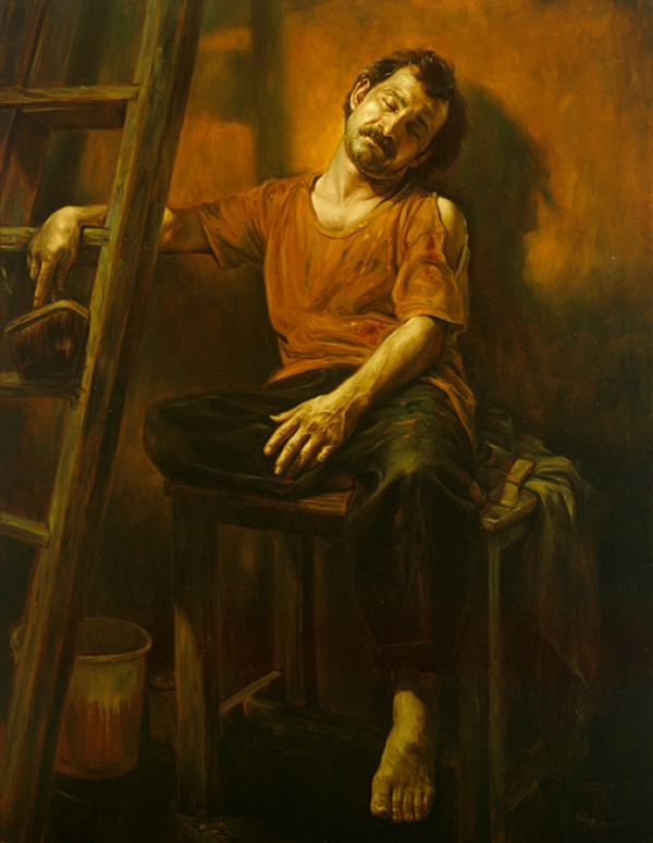 05-Exhausted-from-Work-Morteza-Katouzian-Oil-Paintings-Created-with-a-lot-of-Heart-www-designstack-co