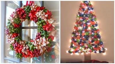 Coronas navide as y rboles decorados con mo os de regalo - Coronas navidenas para puertas ...