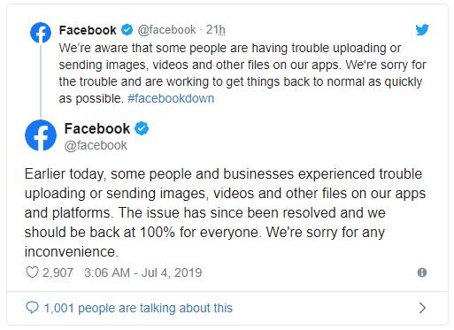 فيسبوك وانستجرام وتويتر يعودان إلى العمل بعد تعطلهم