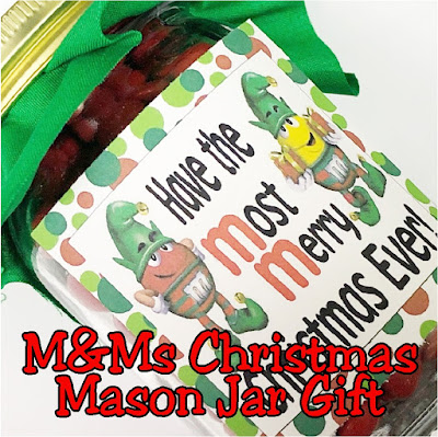 Use everyone's favorite M&M Christmas candy to make these yummy Mason Jar gifts for everyone on your Christmas list.  This is such an easy gift to make for teacher gifts, friend gifts, coworker gifts, or anyone else who needs a quick Christmas treat.