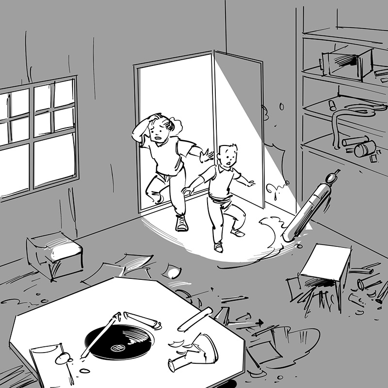 kid's children's picture book black and white line drawing illustration wrecked devastated fantasy tree house laboratory