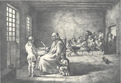 Le Maître d'Ecole, gravure de Boissieu, vers 1780 (Collection Nationale)