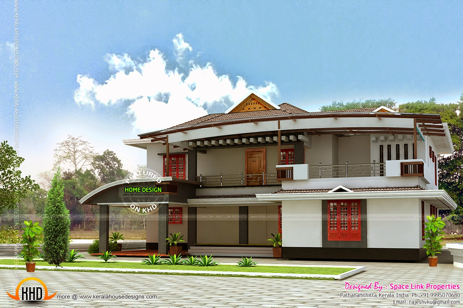 Elevation side and front view kerala home design and for Modern home front view design