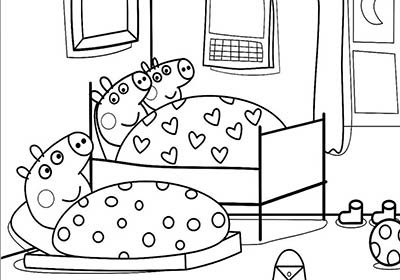 peppa pig en su habitación para colorear