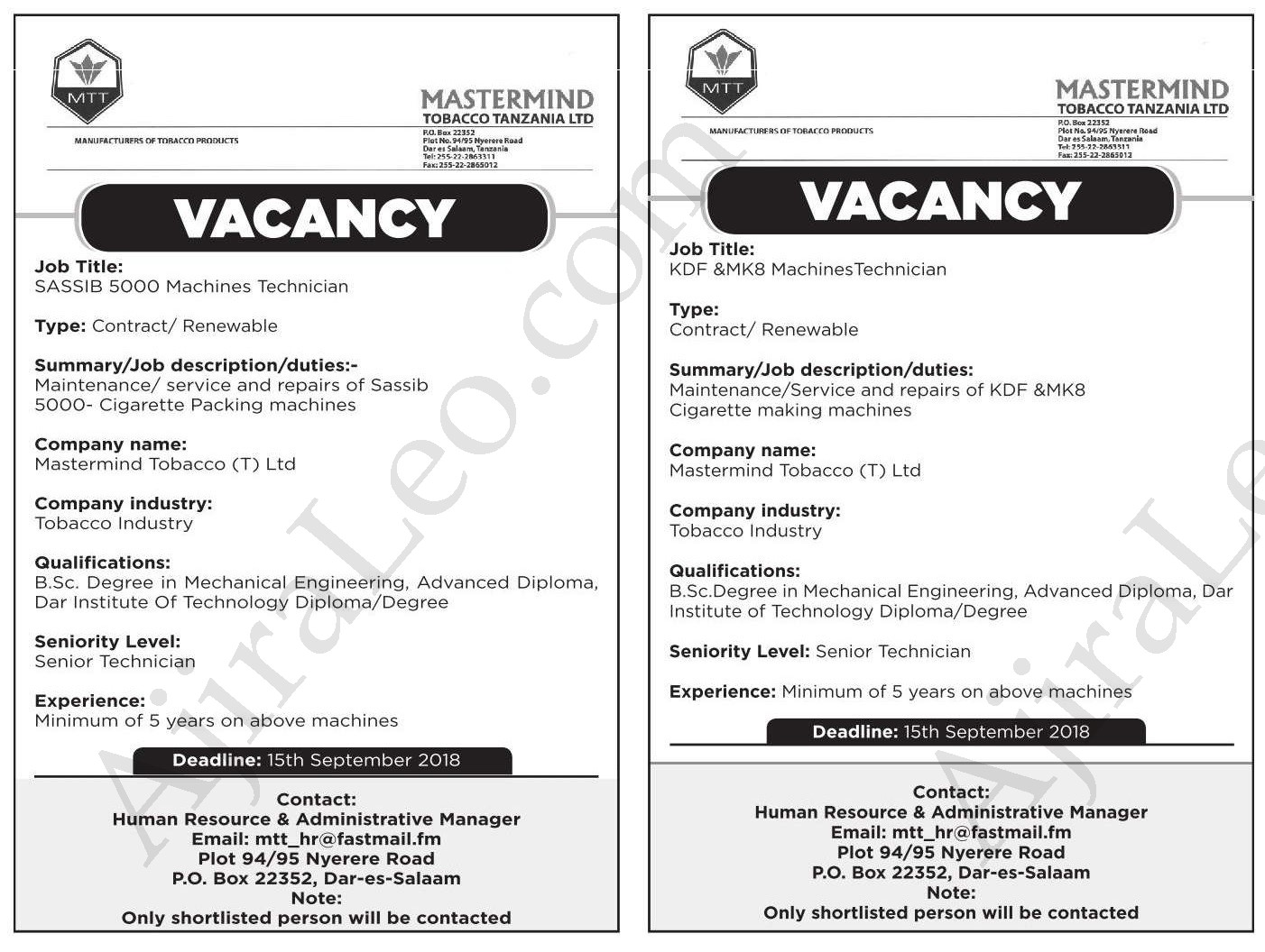 Changing | Jobs in Tanzania