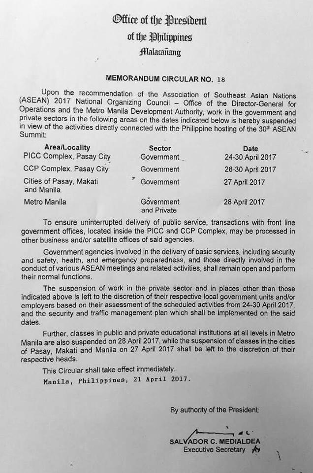 Walang pasok April 28 ASEAN Summit
