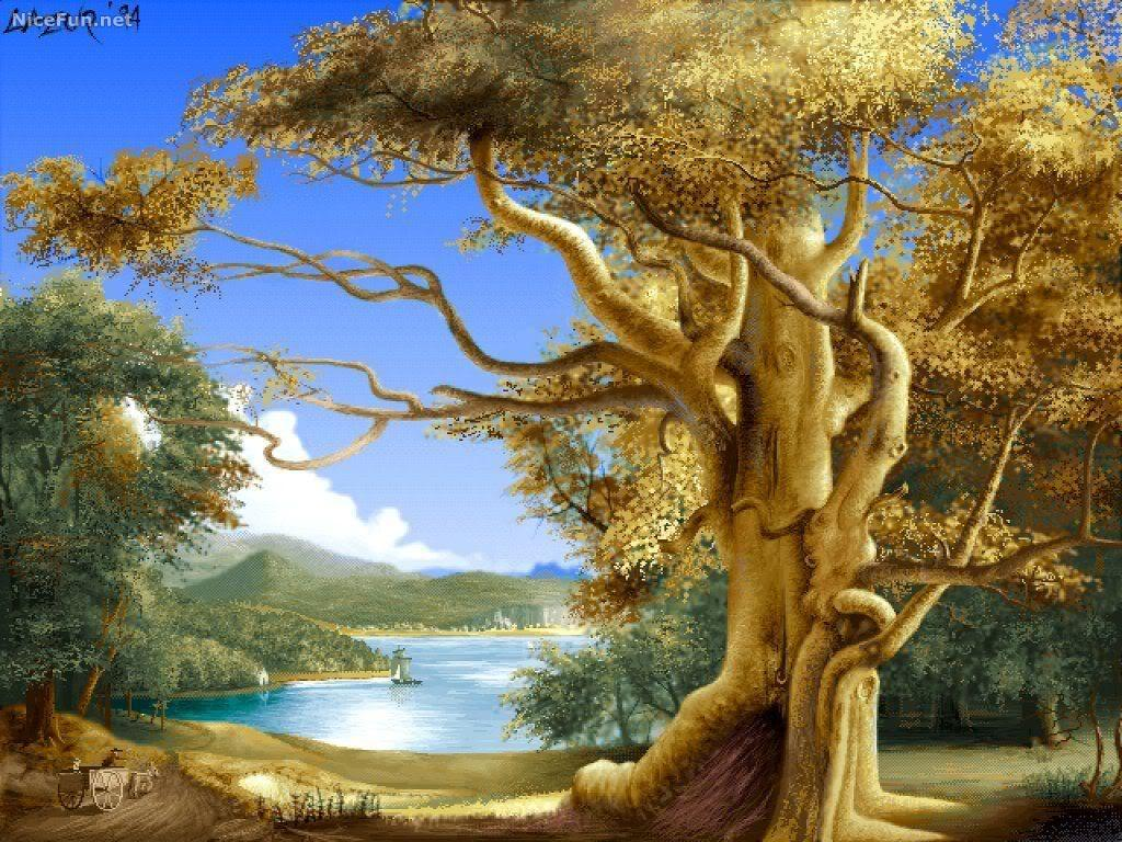 painting nature paintings beauty amazing scenery wallpapers pretty 3d famous artist tree impressive unbelievable canvas