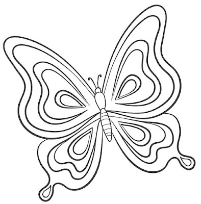 Sketsa kupu kupu indah dan mudah