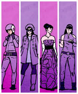 Four slender panels featuring the same brunette white woman in a variety of purple costumes. From left to right, she wears motorcycle gear, jeans and an open coat, a ballgown, and a superhero costume.