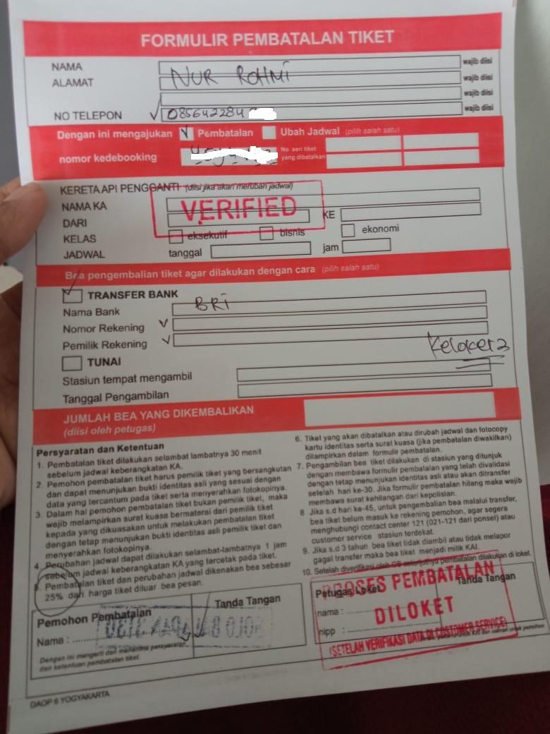 form pembatalan tiket kereta