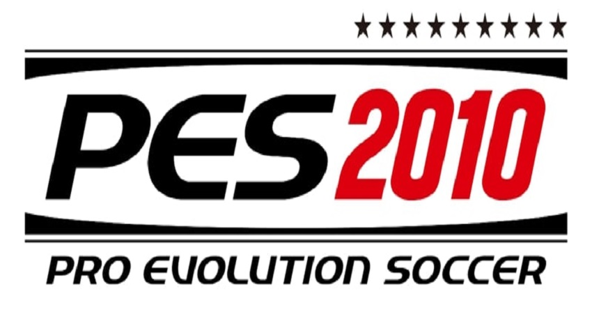 A black and red banner of PES 2010 video game for PES 2010 highly compressed article