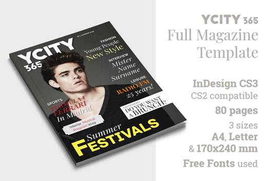 YCity365, InDesign Template for Full Magazine (Cover and Features)