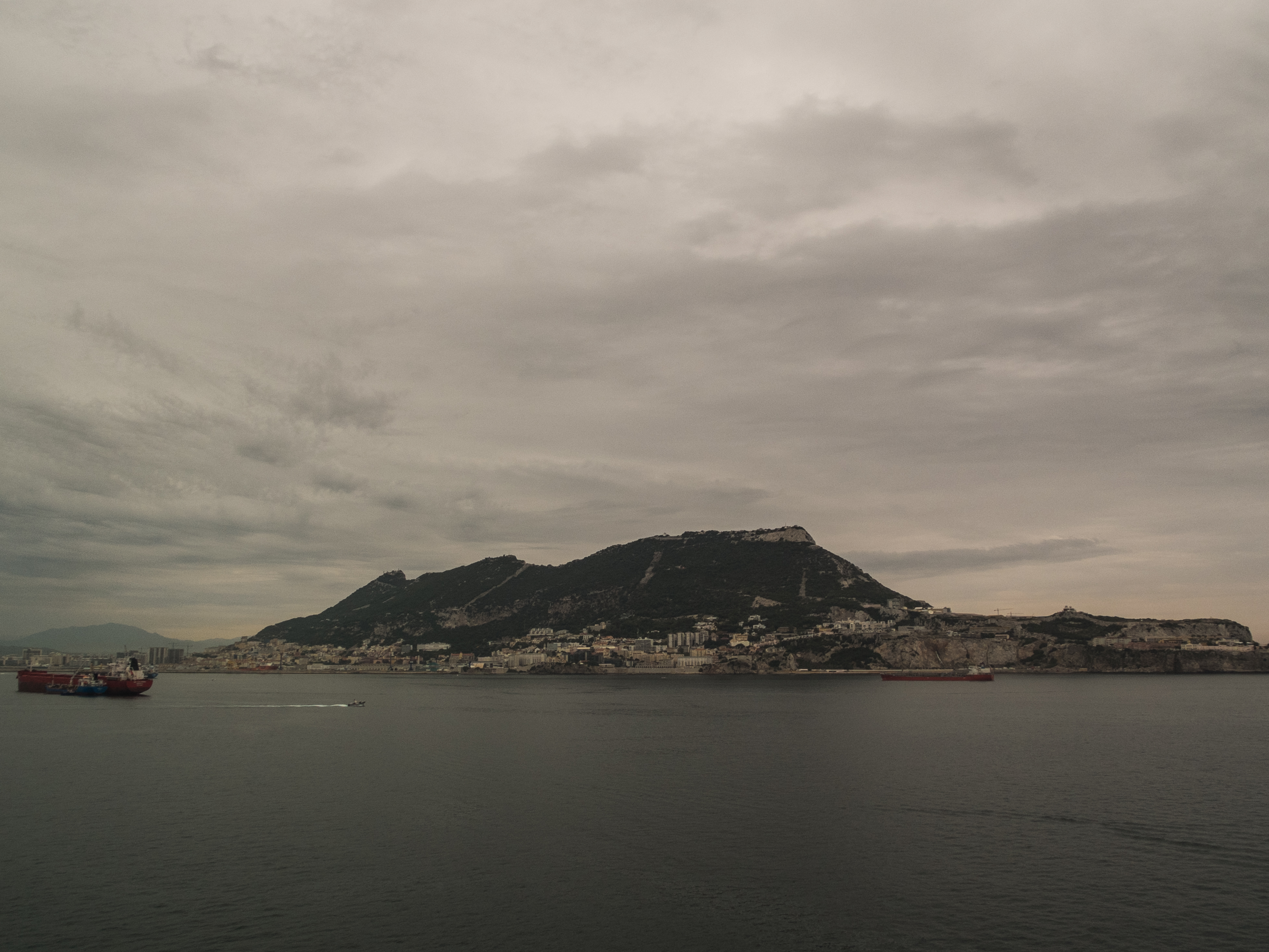 The landscape of Gibraltar captured from the water.