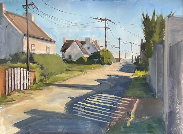 Straße in der Bretagne gemalt, Ölbild. Pleinairmalerei